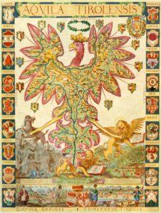 """Der """"Aquila Tirolensis"""", eine aus dem Jahre 1620 stammende und von Matthias Burglechner angefertigte Karte Tirols in der Form des Tiroler Adlers."""