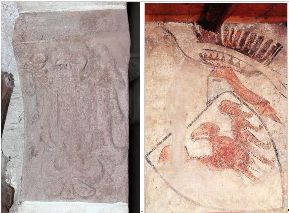 Bild links: Der Tiroler Adler, den Meinhard II. in der Schlosskapelle der Zenoburg bei Meran anbringen ließ. Bild rechts: Der Tiroler Adler in einem Fresko auf Schloss Tirol.