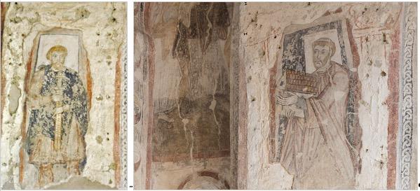 Links: Ein fränkischer Grundherr in karlingischer Hoftracht. Rechts: Eine der beiden Stifterfiguren.