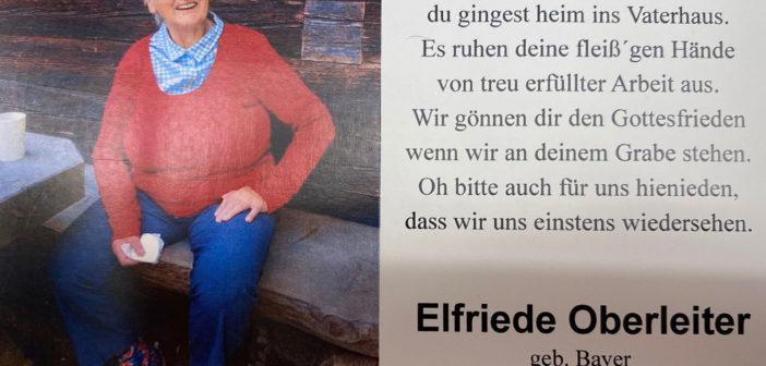 In ehrendem Gedenken   Abschied von Elfriede Oberleiter der tapferen Frau eines Südtiroler Freiheitskämpfers